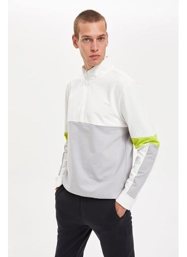 Defacto –Fit Blok desenli Slim Fit Spor Sweatshirt Gri